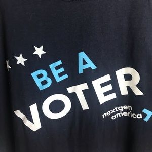 American Apparel Tops - Be A Voter T Shirt Blue With Red White Letters